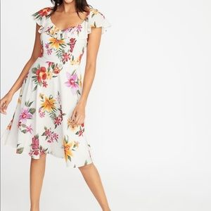 White Floral Fit & Flare Ruffle-Trim Cami Dress